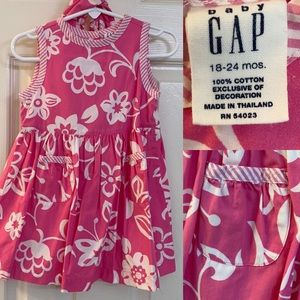 Baby Gap dress pink with Hawaiian flowers bloomers